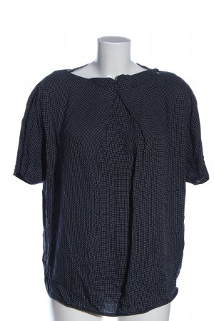 Esprit Kurzarm-Bluse blau-weiß Allover-Druck Casual-Look