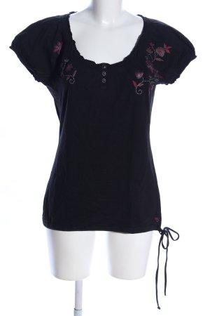 Esprit Kurzarm-Bluse schwarz-pink Blumenmuster Casual-Look