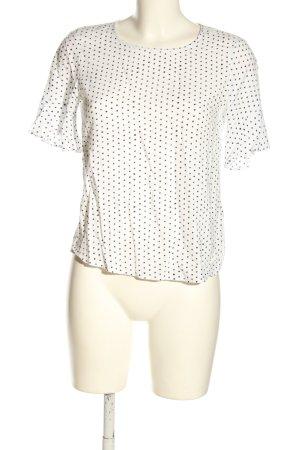 Esprit Kurzarm-Bluse weiß-schwarz Punktemuster Casual-Look