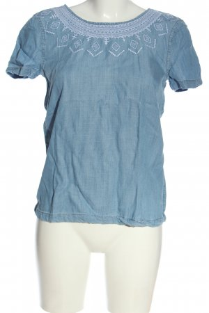 Esprit Kurzarm-Bluse blau-weiß Casual-Look