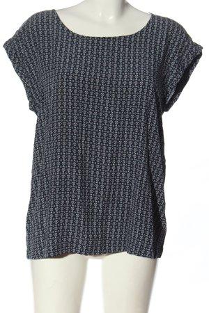 Esprit Blouse à manches courtes noir-blanc imprimé allover style décontracté