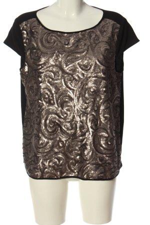 Esprit Kurzarm-Bluse schwarz-bronzefarben grafisches Muster Casual-Look