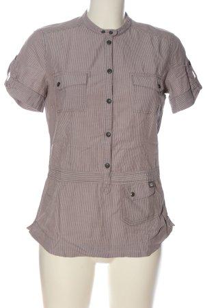 Esprit Kurzarmhemd braun-weiß Streifenmuster Casual-Look