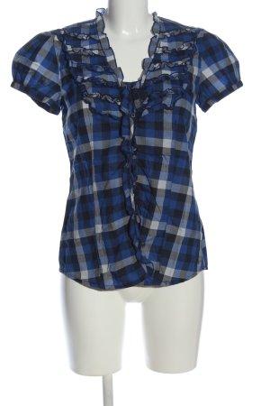 Esprit Kurzarmhemd blau-weiß Karomuster Casual-Look