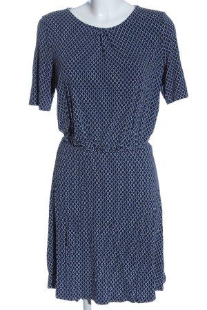 Esprit Kurzarmkleid blau-schwarz Allover-Druck Casual-Look