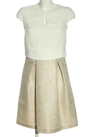 Esprit Kurzarmkleid goldfarben-weiß Elegant