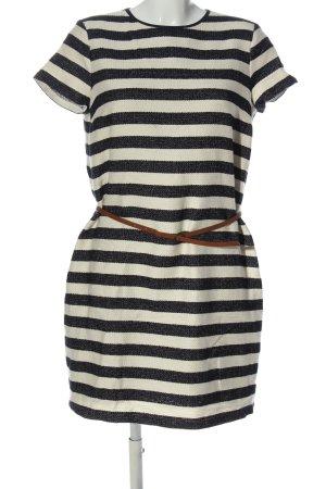 Esprit Kurzarmkleid weiß-schwarz Streifenmuster Casual-Look