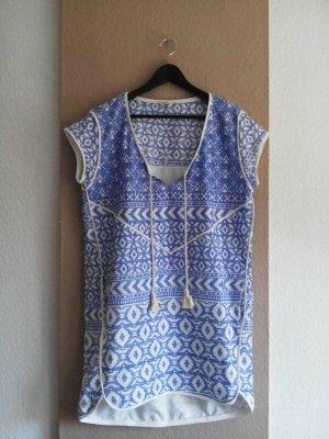 Esprit kurzes Tunikakleid mit Ethno Muster aus 100% Baumwolle, Größe M