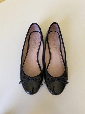 Esprit Ballerina di pelle verniciata nero