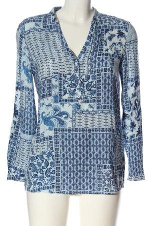 Esprit Langarm-Bluse blau-weiß Allover-Druck Business-Look
