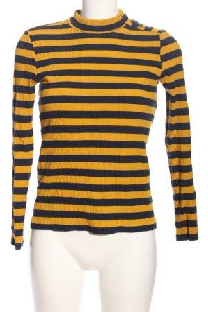 Esprit Ribbed Shirt light orange-blue striped pattern casual look