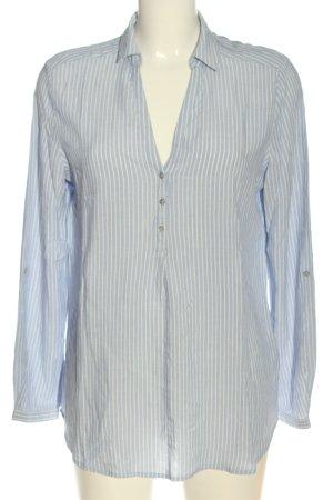 Esprit Langarm-Bluse blau-wollweiß Allover-Druck Elegant