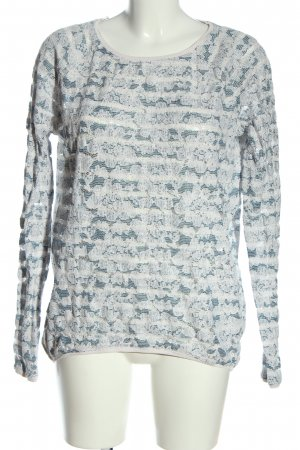 Esprit Langarm-Bluse weiß-blau Allover-Druck Casual-Look