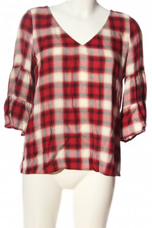 Esprit Langarm-Bluse rot-weiß Allover-Druck Casual-Look