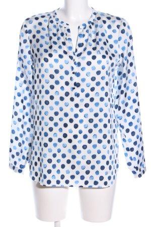 Esprit Langarm-Bluse weiß-blau Allover-Druck Business-Look