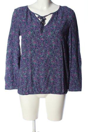 Esprit Langarm-Bluse blau-pink Allover-Druck Casual-Look
