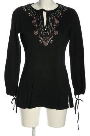 Esprit Langarm-Bluse schwarz-weiß Casual-Look