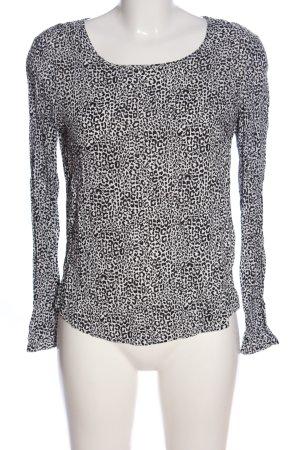 Esprit Langarm-Bluse weiß-schwarz Allover-Druck Casual-Look