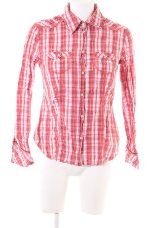 Esprit Langarm-Bluse rot-weiß Karomuster Casual-Look