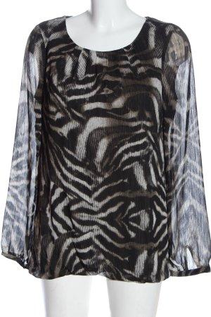 Esprit Langarm-Bluse schwarz-weiß abstraktes Muster Elegant