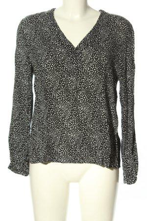 Esprit Langarm-Bluse schwarz-weiß Allover-Druck Casual-Look