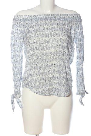 Esprit Langarm-Bluse weiß-blau abstraktes Muster Casual-Look
