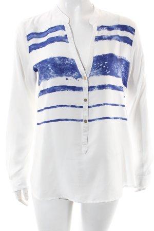 Esprit Langarm-Bluse weiß-blau abstraktes Muster Elegant