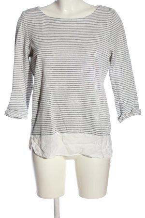 Esprit Langarm-Bluse weiß-hellgrau Streifenmuster Casual-Look