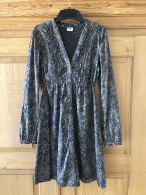 Esprit Langarm Kleid 40 blau Blumenmuster Baumwolle