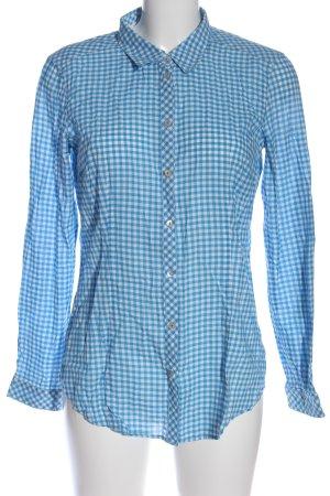 Esprit Langarmhemd blau-weiß Karomuster Casual-Look