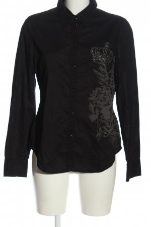 Esprit Langarmhemd schwarz-hellgrau Motivdruck Casual-Look