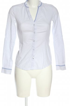 Esprit Langarmhemd weiß-blau Allover-Druck Business-Look