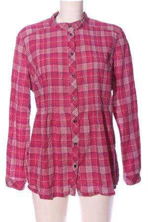 Esprit Langarmhemd pink-wollweiß Karomuster Casual-Look