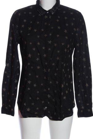 Esprit Langarmhemd schwarz-braun Allover-Druck Casual-Look