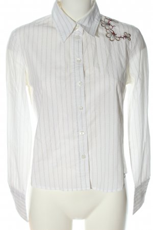 Esprit Langarmhemd weiß-creme Schriftzug gestickt Casual-Look