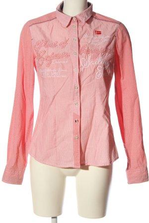 Esprit Langarmhemd weiß-pink Schriftzug gedruckt Business-Look