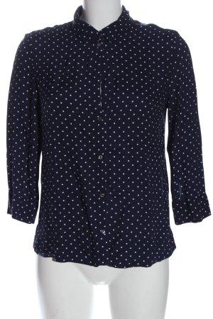 Esprit Langarmhemd blau-weiß Punktemuster Casual-Look