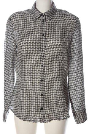 Esprit Langarmhemd weiß-schwarz Allover-Druck Casual-Look