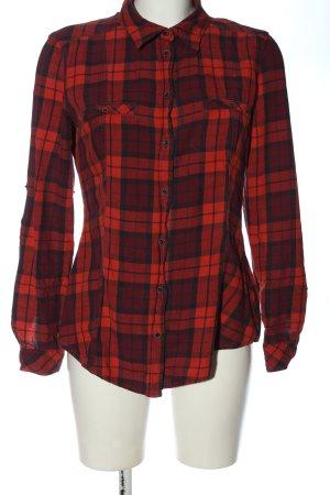 Esprit Langarmhemd rot-schwarz Karomuster Casual-Look