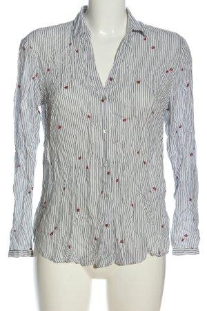 Esprit Langarmhemd weiß-schwarz abstraktes Muster Casual-Look