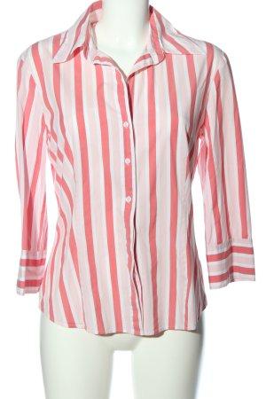 Esprit Camisa de manga larga blanco-rosa estampado a rayas look casual
