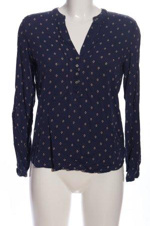 Esprit Langarmhemd blau-weiß Allover-Druck Casual-Look