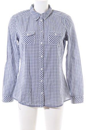 Esprit Langarmhemd blau-weiß Karomuster Business-Look