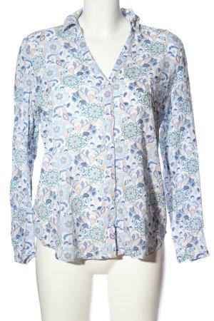 Esprit Langarmhemd weiß-blau Allover-Druck Casual-Look