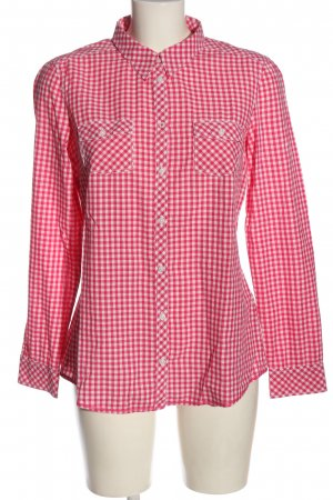 Esprit Langarmhemd pink-weiß Karomuster Casual-Look