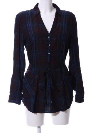 Esprit Camicia a maniche lunghe marrone-blu motivo a quadri stile casual