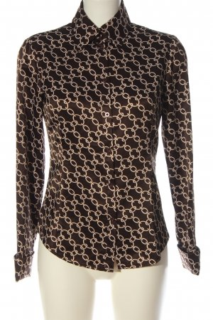 Esprit Langarmhemd braun-wollweiß Allover-Druck Casual-Look