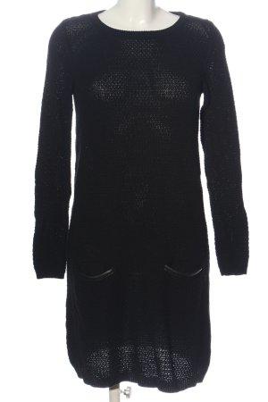 Esprit Langarmkleid schwarz Zopfmuster Casual-Look