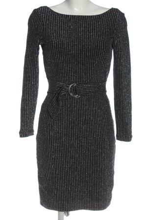 Esprit Langarmkleid schwarz-silberfarben Streifenmuster Elegant