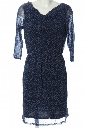 Esprit Langarmkleid schwarz-blau Allover-Druck Casual-Look